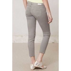 AG  The Stevie Ankle Slim Straight Gray Jeans